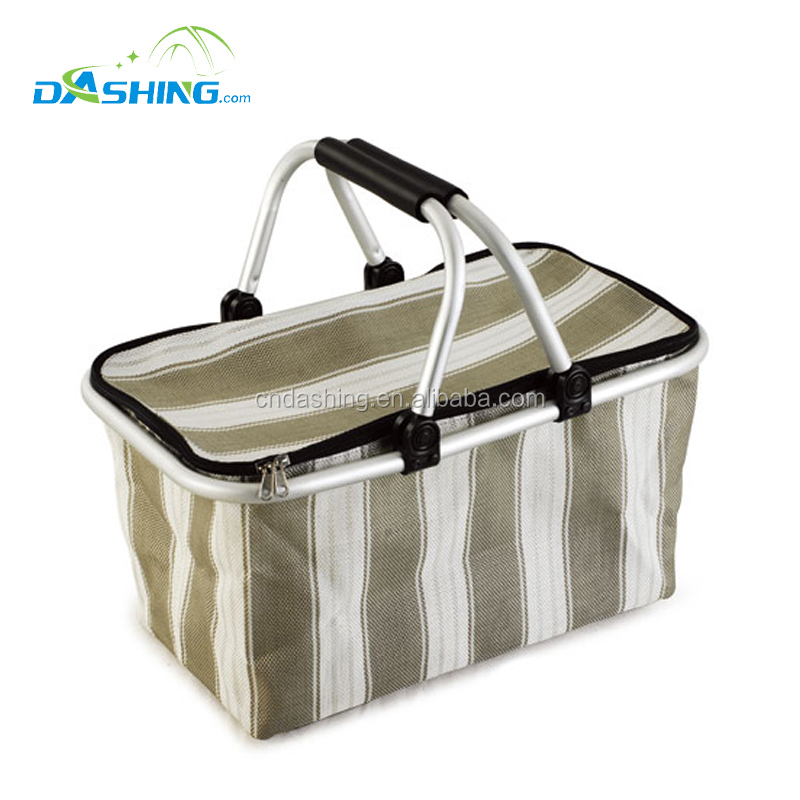 Best selling promotional gift dot polyester oxford aluminum foldable picnic carry folding cloth shopping basket