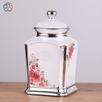 New type silver edge european modern style ceramic cookie jar with lid