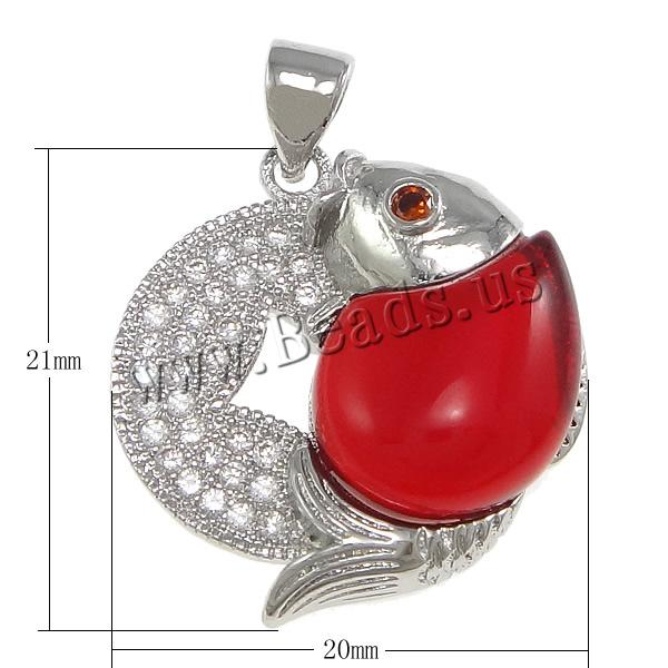 Free shipping!!!Cubic Zirconia Micro Pave Brass Pendant,2014 fashion free shipping, with Glass, Fish, platinum plated