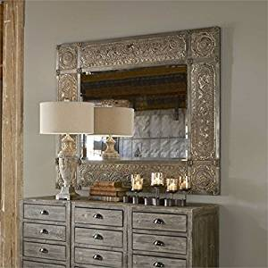 Ambient Heavily Distressed Golden-champagne Leaf With Black Undertones, Deep Red Dry Brushing And A Heavy Rusty Tan Wash Large Distressed Champagne Mirrors