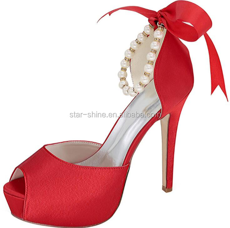 bracelet pearl shoes stiletto SW1418 ankle heel wedding women Fancy elegant European style sexy zqz7vZx
