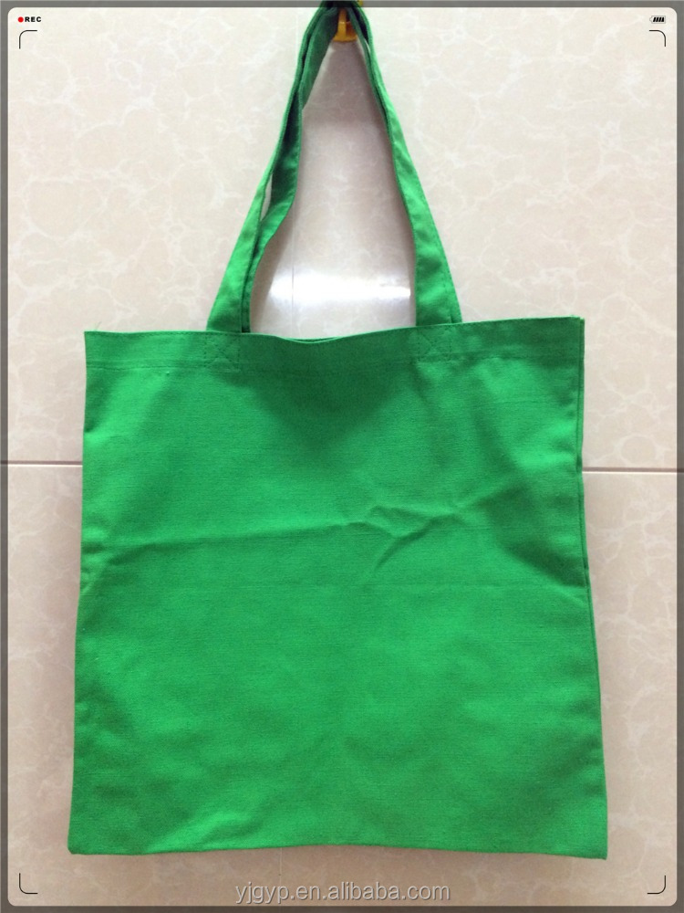 Cheap customized Fashion green cotton canvas shopping bag