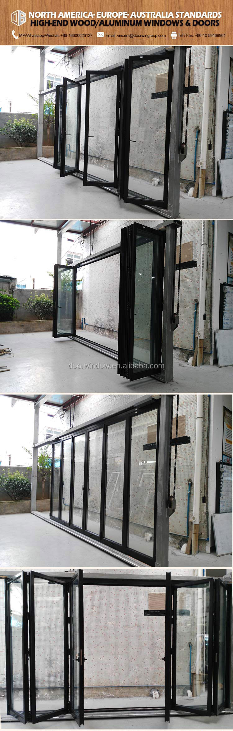 Thermal break aluminum 8 panels lowes bi fold outdoor bi folding door Bifold folding foldable bifolding accordion windows