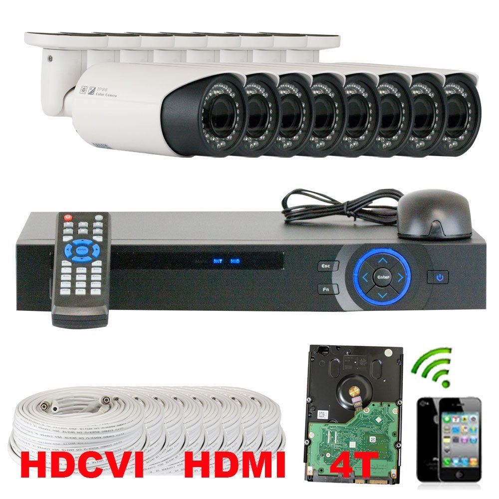 Best Sale High End Professional 8 Channel HD-CVI DVR Security Camera System with 8 x 1/2.9 HDCVI Color IR CCTV Security Camera, 1.0Mega pixel Color CMOS, 2.8-12mm Manual Focus Lens, 42PCS Infrared LED, 98 feet IR distance. 1080p real time preview, 720P realtime recording. iPhone, Android Viewing.