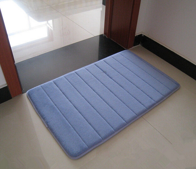 free shipping foam stripe bathroom shower mat non slip backing rug in carpet from home garden. Black Bedroom Furniture Sets. Home Design Ideas