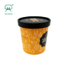 16oz 500ml customized double PE cold frozen yogurt ice cream paper hot soup cup bowl container with paper lid