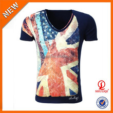 Colorful printed t shirt with sequin/Beaded 5% polyester 95% cotton t shirt with your own design
