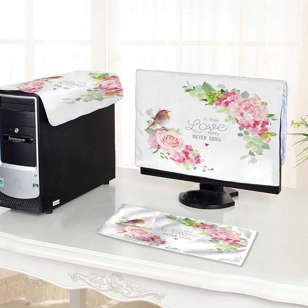 """UHOO2018 Desktop Computer Cover 3 Pieces Vector Round Frame with Pink Rose Hydrangea Carnation Flowers Scratch Resistance /17"""""""