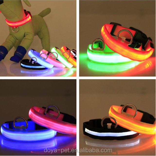 New design LED Dog Collar Night Flashing Glow Light Nylon Screen Collar for dogs