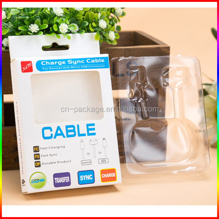 Alibaba China custom printing USB cable packaging with blister tray/earphone packaging