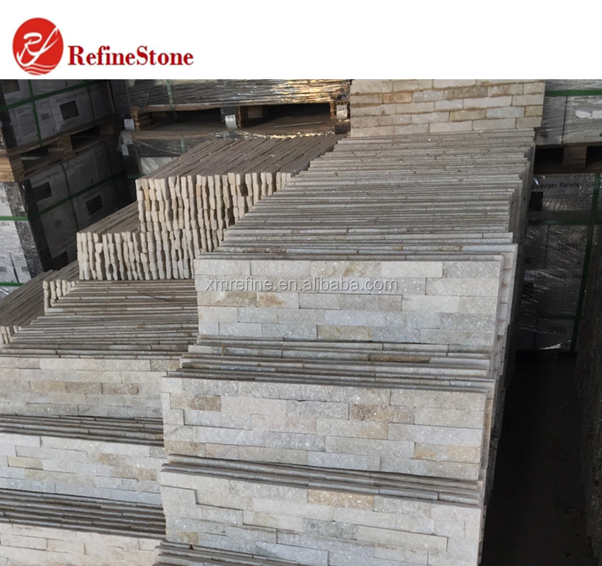 Popular cheap white quartzite culture stone,wall cladding panel covering paving decorated stone