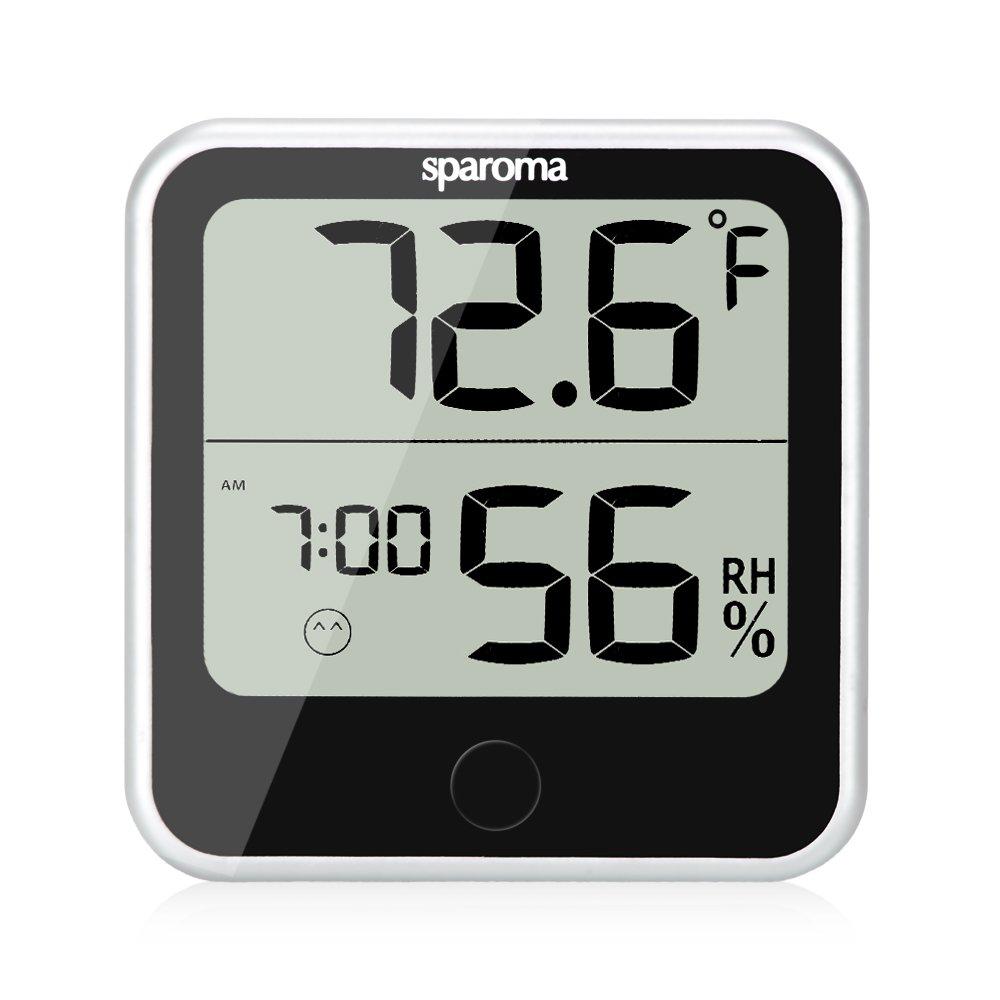 Indoor Humidity Temperature Monitor – Digital Hygrometer Humidity Meter with Temperature Humidity Gauge, Built-in Clock and Time Display for Temperature Humidity Measurement