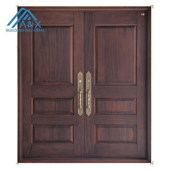 Double Real Wood Entrance Door