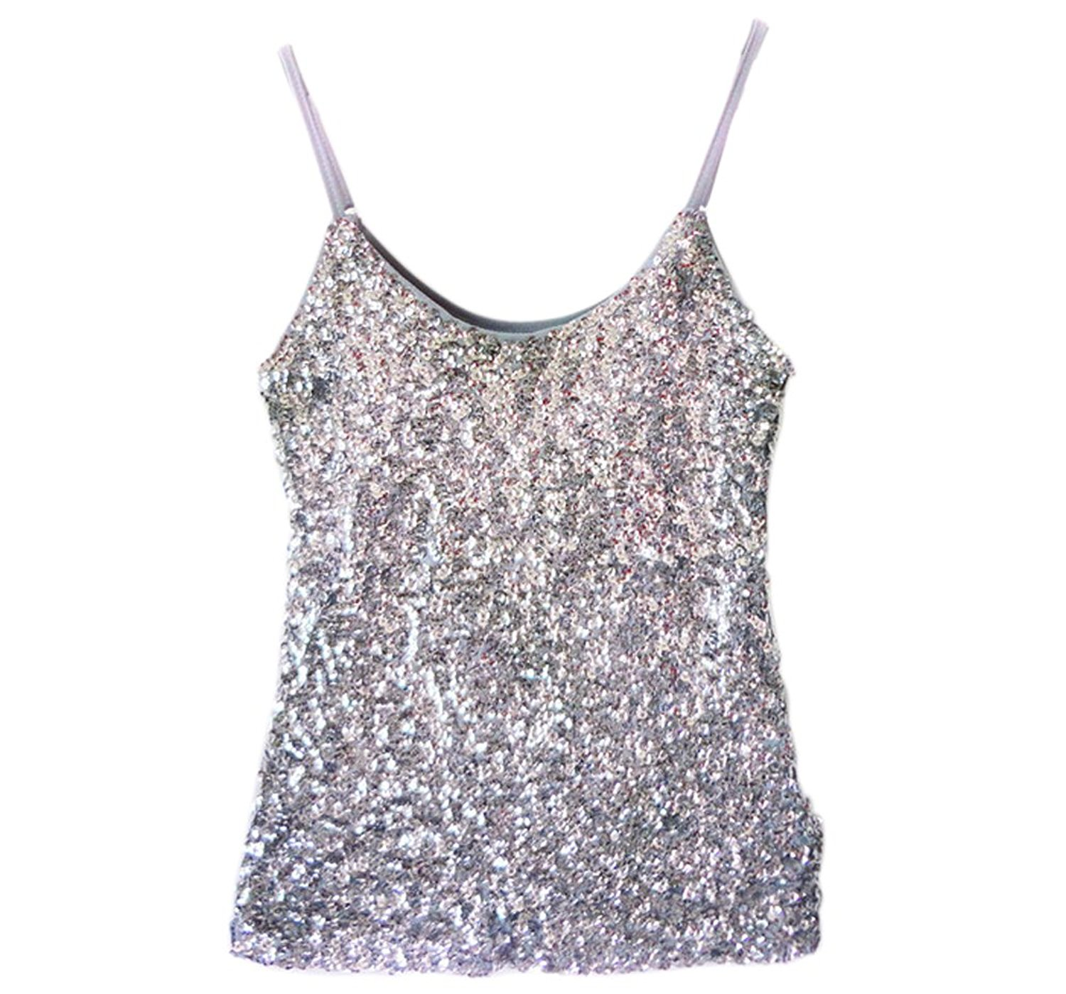 8fb2bb2d1e4 Get Quotations · Whitewed Glitter Sparkle Paillettes Sequin Juniors Tank  Stage Tops Shirt Women