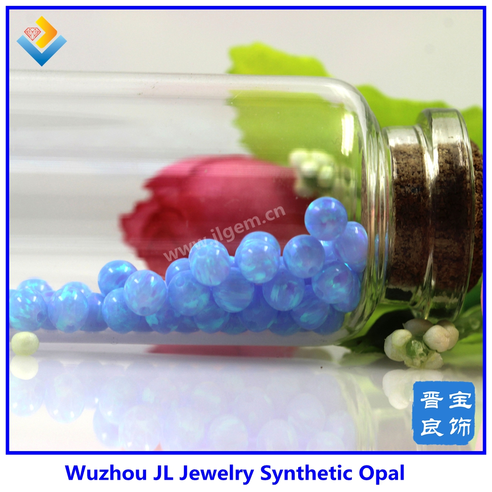 Wholesale Price 4mm Light Blue OP06 Synthetic Opal Bead / Ball Gems Stone With Drill Hole