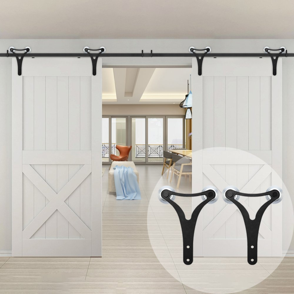 Get Quotations · WINSOON Double Aluminum Wheels Sliding Closet Barn Door  Hardware Kit With Big Y Shaped Hangers For