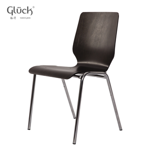 Eupean Modern Simple Stainless Steel Legs Wooden High Back Stackable Dining Room Chair With High Quality