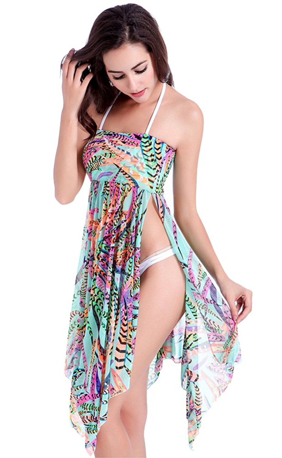 0e7c880ba4 Get Quotations · BucaDala Womens Printing Sarong Side Slit Beach Skirt  Cover UPS One Pieces Swimsuits