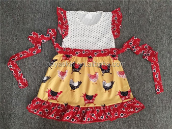 Country Style Summer Popular Baby Clothes Girls Chicken Print