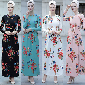 Hot Selling  Pink,White,Lake Blue, Black  Summer Muslim Jersey  Maxi Dress Abaya  with Flower