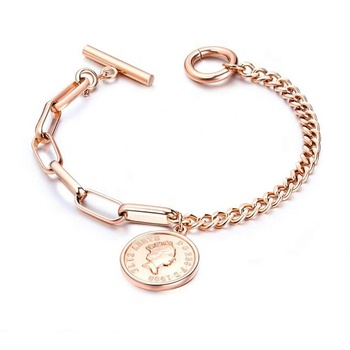 316L Stainless Steel Jewelry Plated Rose Gold Women Coin Bracelet
