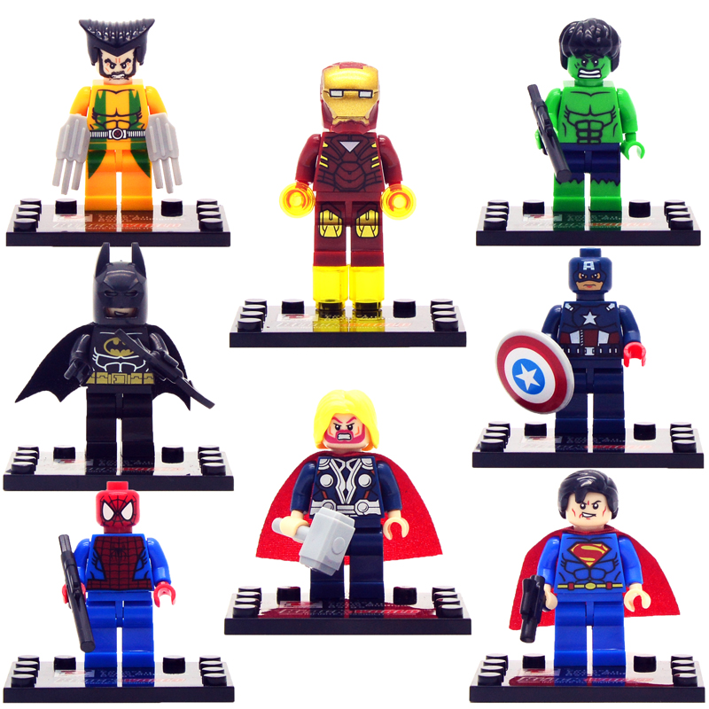 8pcs lot movie Super Hero Avenger with Weapon Kid Baby Toy Mini Figure Building Blocks Sets