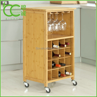 Bottle Rack With Wheels, Serving Wine Trolley, Including Glass Holder