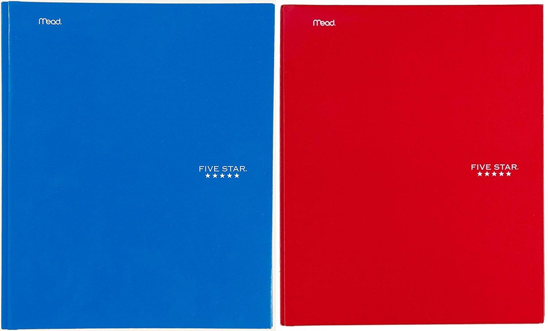 Five Star (TM) Pocket & Prong Paper Folder, Letter-Size (Combo Set of 2: Blue, Red)