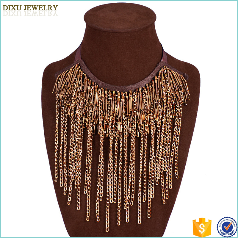Turkish Indian design metal tassel multi-layer gold chain necklace