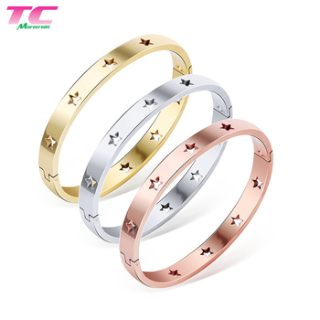 Polished Stars Stainless Steel Bracelet Classical Band Bangle for Women