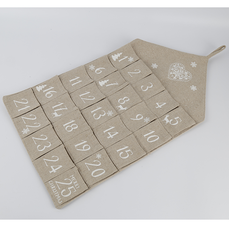 Christmas 25 Day Hanging Burlap Fabric Advent Calendar