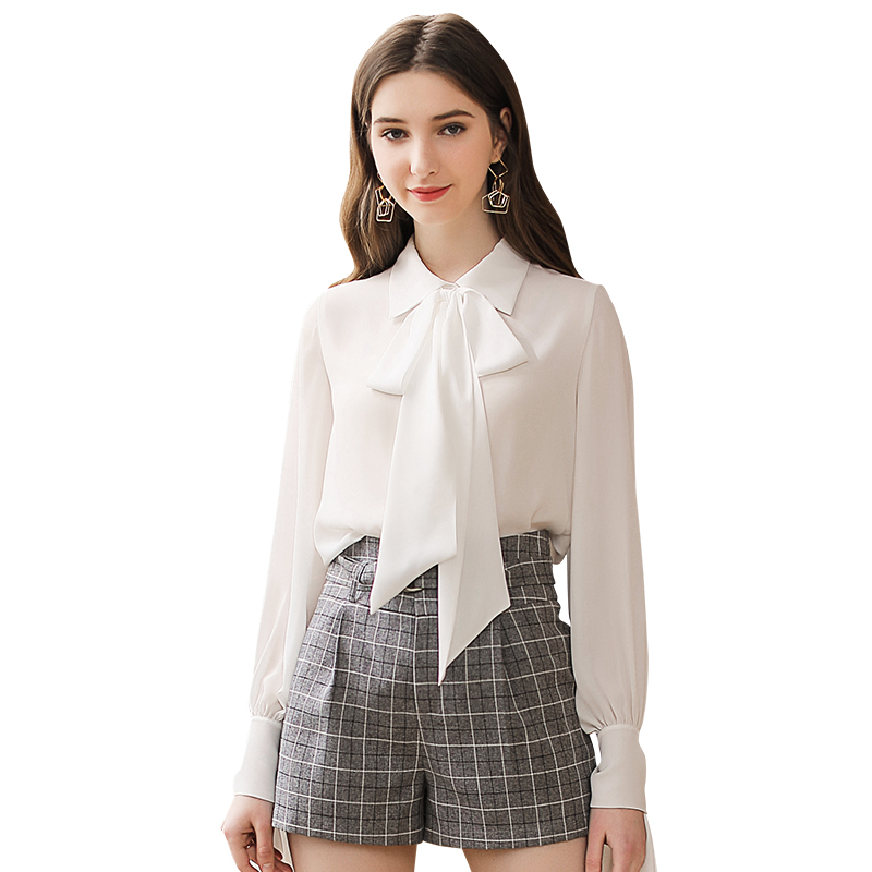 2019 spring new women's white tops ladies chiffon shirt фото