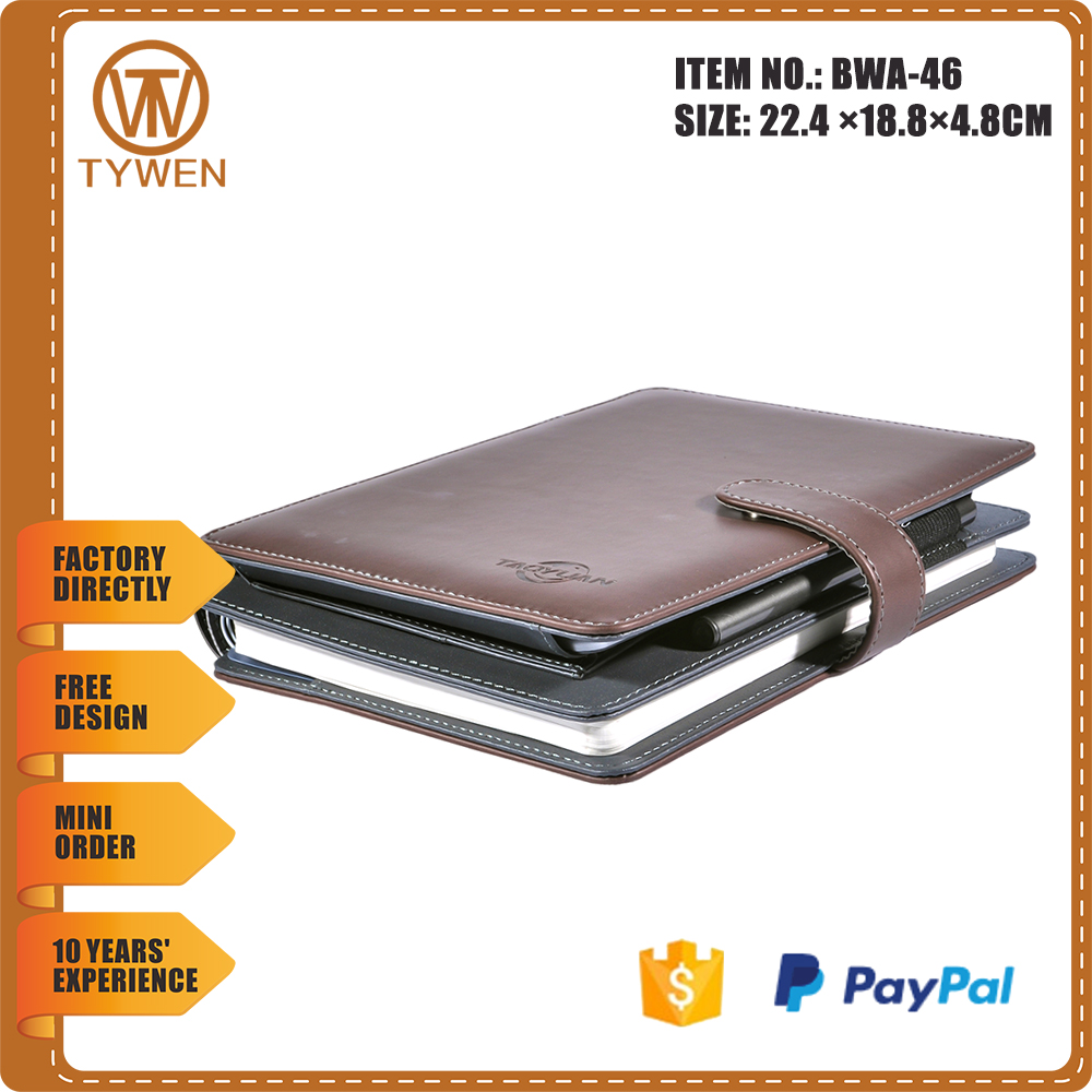 2016 BoWen new fashion/high quanty /multi-pocket file folder with card holders plus notebook with pen China manufacturing
