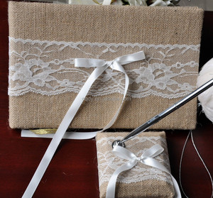 Wedding Ornaments Fashion Burlap Lace Wedding Guest Book and Pen Set Wedding Decoration