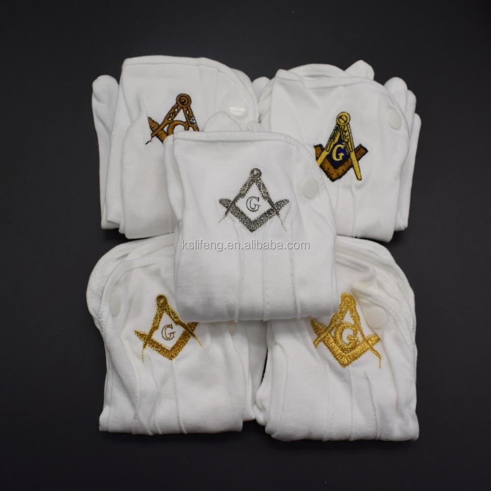 Custom Made Embroidery Logo Masonic Cotton Cheap high quality Gloves