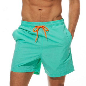 Breathable Sport Beach Summer Swim Shorts Solid Color Elastic Waist custom men board shorts