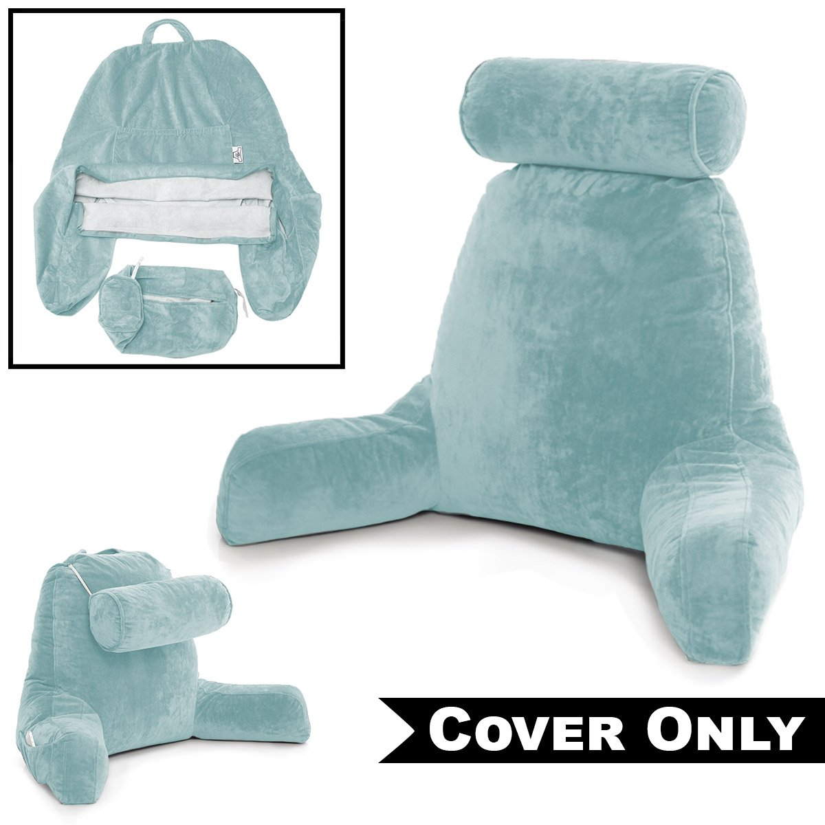 Sky Blue COVER ONLY - For the Husband Pillow - Bedrest Cover Set - Support Bed Backrest Covers , Micro Plush Cover Including Detachable Neck Roll Pillow Cover