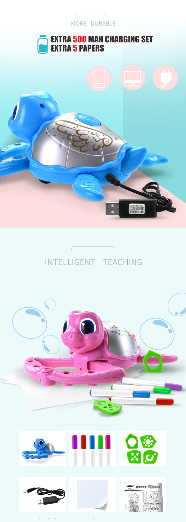 Hot sales electric turtle DIY painting toy educational toy for kids