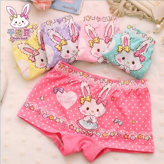 2015 cotton boxer briefs underwear girls underwear modal butterfly rabbit kids panties wholesale GU045