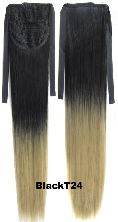1 шт. 22 дюймов 90 г прямо синтетические волосы шнурок ponytail с зажимом в ломбер наращивание волос белые девушки