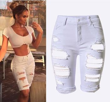 5f138164d34be W0841 novio agujero rasgado pantalones vaqueros blancos mujeres pantalones  Cool denim vintage jeans straight para niña