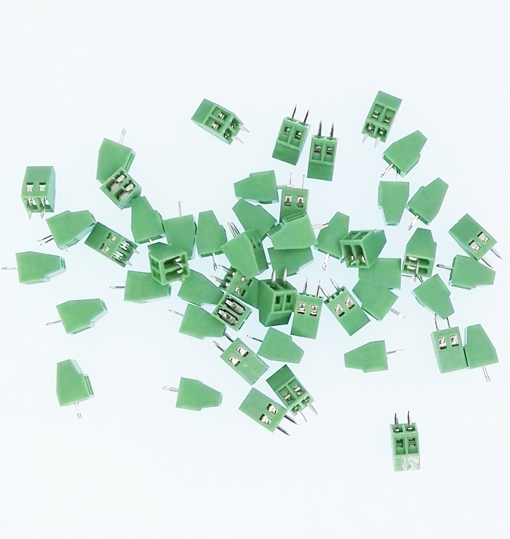 E-Simpo 50pcs PCB Screw Terminal Block, 2p 3p Optional, 2.54mm(150v6a) 3.81mm(300v10a) (2.54mm Pitch, 2P),Read the Drawing Before You Order. Strict Size as Drawing.
