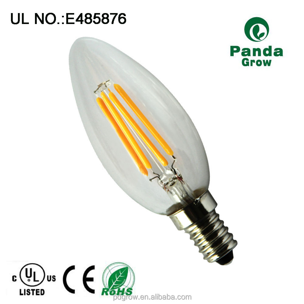 Colore dorato decorativo lampadina, UL approvato candela led lampadina a incandescenza C35 3 W in bar