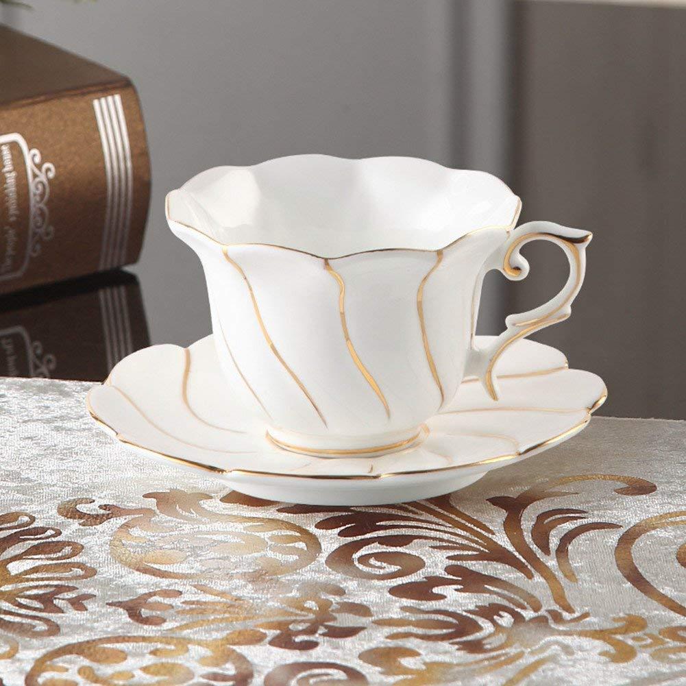 05f5c1ee6be Get Quotations · MueYan Bone China Coffee Cup Mug and Saucer Spoon Set Ceramic  Mugs Porcelain Tea Cup Tray