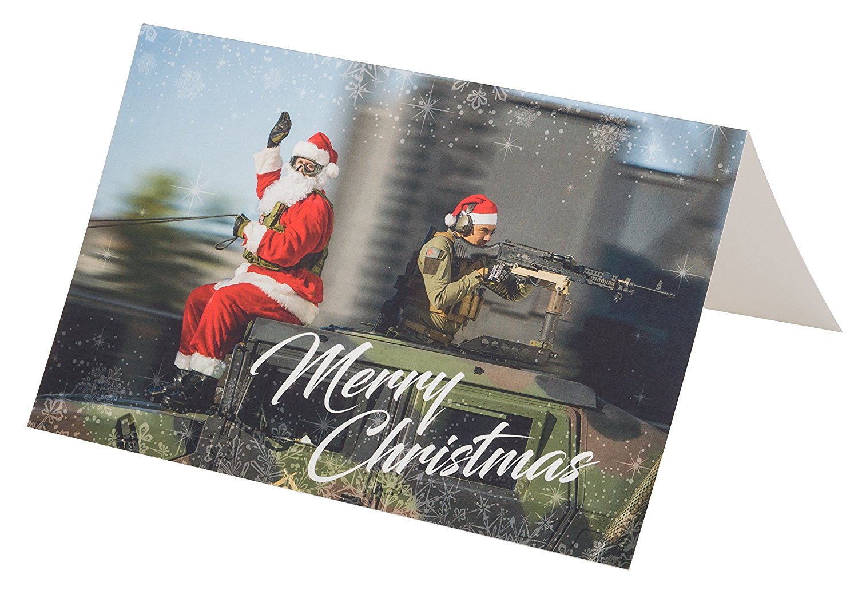 Evike Merry Christmas Holiday Greeting Card - Tactical Santa & Helper - (60169)