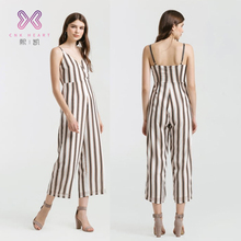 2018 Fashionable Black white stripes ladies jumpsuit