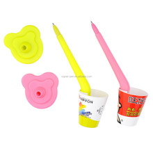 Novelty cute ice cream cup shape desk ballpoint pen stand promotional for kids
