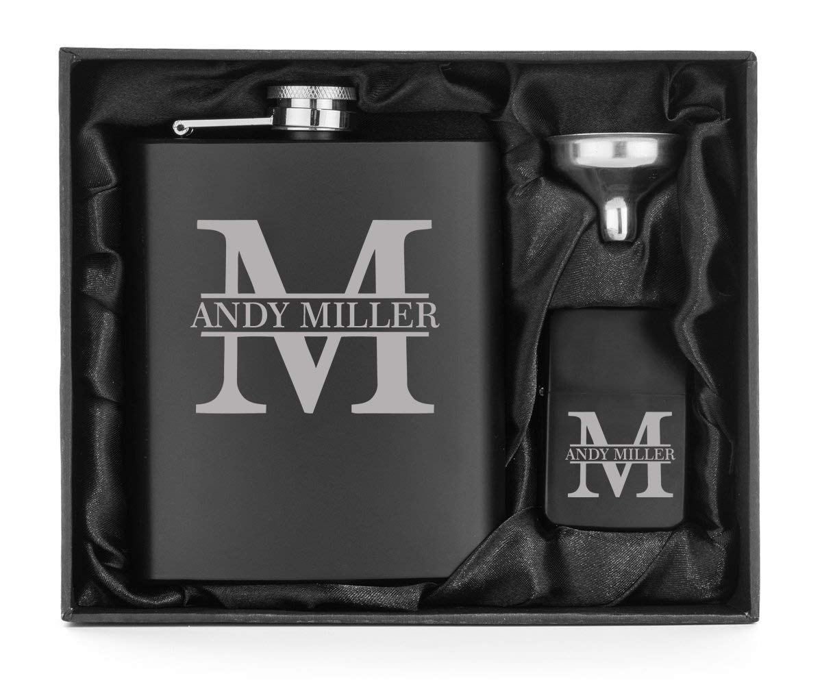 Engraved 7oz Matte Black Stainless Steel Hip Flask Funnel & Lighter Block Initial Gift Box Custom Personalized