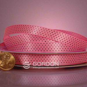 Mini Black Polka Dot Hot Pink Satin Ribbon