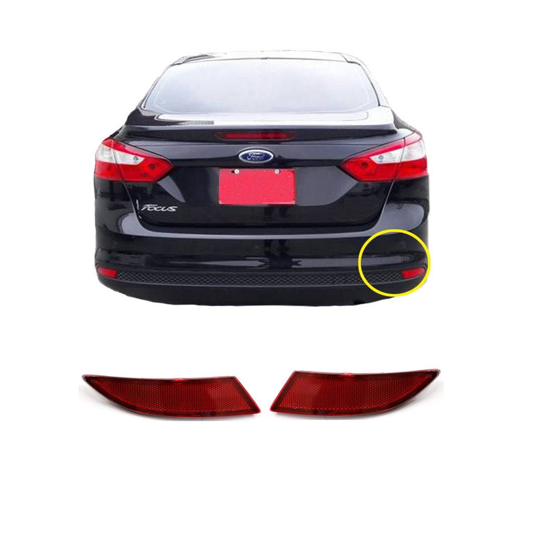 Vakabva BM5Z13A565A BM5Z13A565B Rear Bumper Reflector Set for 2012-2017 Ford Focus Sedan